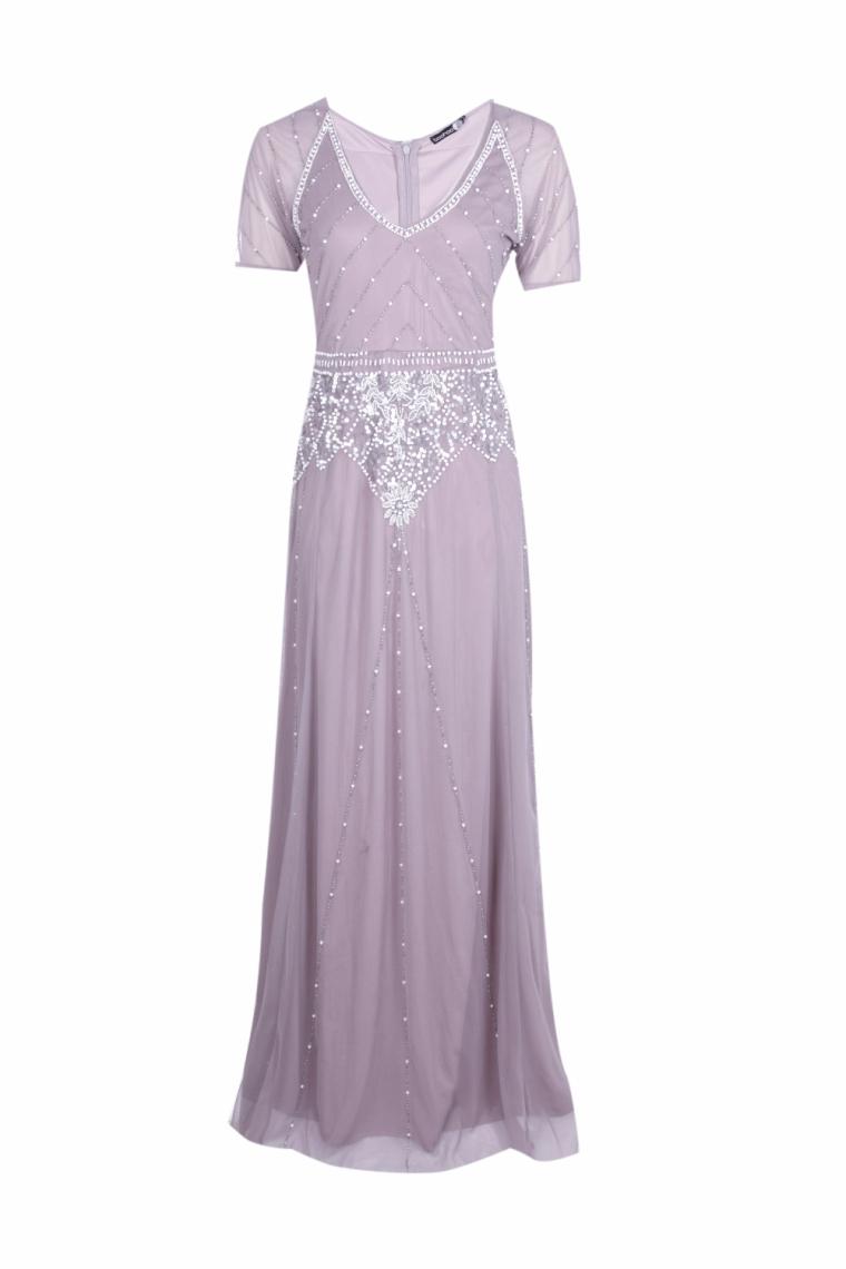 boohoo.com Boutique Mai Beaded Cap Sleeve Maxi Dress €58 Lilac