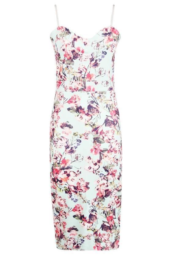 boohoo.com Faye Floral Print Strappy Midi Bodycon Dress €24